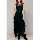Fashionable Girls Dress Plain Sheer Lace Short Sleeve Crew Neck Tiered Long Pleated A-line Dress