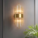 Postmodern Flute Wall Mounted Lamp Clear Crystal Dining Room Wall Sconce in Gold