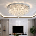 Crystal Tapered Flush Mount Lighting Minimalism Ceiling Mounted Fixture for Living Room