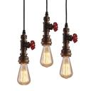 Single Exposed Bulb Design Pendant Lighting Cyberpunk Bronze Metal Pendulum Light with Red Valve