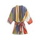 Stylish Girls Dress Stripe Print 3/4 Sleeve Surplice Neck Bow Tied Waist Short Wrap Dress in Blue-white