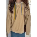 Cozy Women's Hoodie Solid Color Button Detail Long Sleeve Drawstring Hooded Sweatshirt