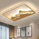 Art Deco Mountain Ceiling Light Wooden Living Room LED Rectangle Flush Mount Lighting Fixture