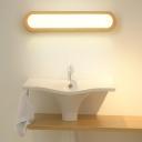 Wood Oblong LED Sconce Light Fixture Minimalist Acrylic Vanity Wall Light for Bedroom