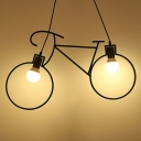 Minimalistic Bike Shaped Chandelier 2-Head Metallic Hanging Pendant Light in Black