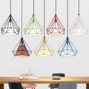 Fabric Cone Multiple Lamp Pendant Nordic 3 Heads Dining Room Hanging Light with Diamond Shaped Cage