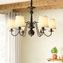 Chandelier Lighting Vintage Restaurant Pendant Light Kit with Tapered Fabric Shade in Black