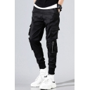 Fashion Pants Solid Color Drawstring Waist Flap Pockets Ankle Relaxed Fit Cargo Pants for Men