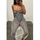 Unique Womens Jumpsuit Abstract Geo Print Semi-Sheer Mesh Spaghetti Straps Cut Out Ankle Fitted Jumpsuit in Black