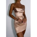 Sexy Ladies Dress Solid Color Satin Strapless Ruched Short Tight Tube Dress