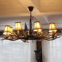 Antler Hanging Light Rural Brown Resin Chandelier Lighting Fixture with Flared Lampshade