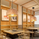 Contemporary Handwoven Pendant Light Bamboo Single-Bulb Restaurant Suspension Light Fixture in Wood