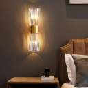 Hourglass Shaped Wall Lamp Postmodern Ribbed Crystal 2 Heads Bedside Sconce Light in Gold
