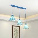 Cone Multi Light Pendant 3 Bulbs Tiffany Glass Vintage Hanging Lighting for Dining Room