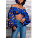 Trendy Blouse Blouson Sleeve Off the Shoulder All Over Printed Fit Crop Blouse for Women
