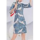 Trendy Cheongsam Dress Crane Pattern Side Split Slant Frog Buttons 3/4 Sleeve Mandarin Collar Slim Fit Mini Dress for Women