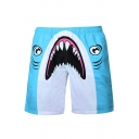 3D Cartoon Shark Printed Drawstring Waist Summer Blue Swim Trunks Shorts for Men