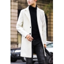 Cool Mens Trench Coat Plain Woven Mid-Length Button down Notched Lapel Collar Long Sleeve Slim Fit Trench Coat