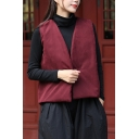 Simple Womens Vest Solid Color Deep V-neck Sleeveless Frog Button Relaxed Vest