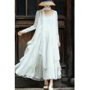 Fancy Womens Coat See-through Sun Protection Long Sleeve Open Front Relaxed Fit Coat in White