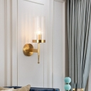 Minimalism Cylindrical Wall Sconce Lamp Clear Ribbed Glass 1-Light Living Room Wall Light in Gold