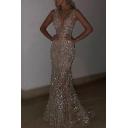 Banquet Womens Dress Deep V-neck Sequined Sleeveless Maxi Fishnet Dress in Silver