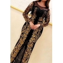 Popular Womens Dress Sheer Mesh Patched Bronzing Long Sleeve Round Neck Long Shift Dinner Dress in Black