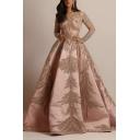 Elegant Ladies Dress Bronzing Decoration Long Sleeve V-neck Maxi Flared Dress in Gold