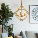 Simplicity Candle-Style Chandelier Light 4 Bulbs Metallic Ceiling Lighting with Cage in Gold