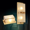 Rectangle Living Room Wall Sconce Light Simplicity Frosted Glass Brass Wall Light Fixture