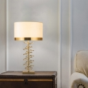 Drum Shade Living Room Nightstand Lamp Vintage Fabric 1-Light Brass Table Light with Metal Ring