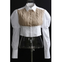 Formal Shirt Khaki Cable Knit Patched Puff Sleeve Point Collar Regular Fit Crop Shirt Top for Women