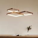 Rhombus Frame Metallic LED Ceiling Lighting Modern Coffee Chandelier Light for Living Room