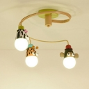 Animal Head Nursery Ceiling Chandelier Metallic Cartoon Suspension Light in Orange
