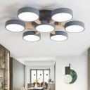 Round Bedroom LED Semi Mount Lighting Metal Nordic Ceiling Light with Wooden Arm
