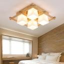 Wood Checkered Flush Ceiling Light Nordic White Glass Flushmount Lighting for Bedroom