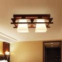 Trapezoid Ceiling Mount Lamp Modern Ivory Glass Bedroom Flush Mount Light in Wood