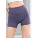 Chic Womens Shorts Plain Quick Dry Nude Feeling Mention Butt Anti-Emptied Skinny Fitted Yoga Shorts