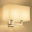 Fabric Rectangle Wall Mount Light Modern 2 Bulbs Living Room Wall Light Fixture in Chrome