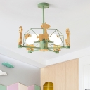 Wooden Giraffe Pendant Chandelier Cartoon 4-Bulb Hanging Light with Wire Cage for Kids Room