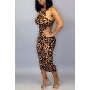 Womens Dress Creative Leopard Skin Print Cut out Cross Backless Spaghetti Strap Sleeveless Midi Bodycon Dress