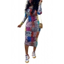Unique Womens Dress Animal Skin Pattern Long Sleeve Maxi Skinny Fit Round Neck Bodycon Dress