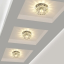 Entryway Led Flush Mount Ceiling Light Simple Clear Flushmount with Flower Crystal Shade