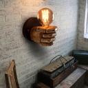 Resin Fist Wall Lighting Fixture Art Decor 1 Bulb Brown Wall Sconce Lamp for Restaurant