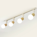 Bare Bulb Spotlight Semi Flush Light Nordic Wood 4-Head White Track Light Fixture
