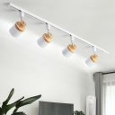 Cap Shaped Metal Track Lamp Nordic Style Wood Semi-Flush Ceiling Light for Dining Room