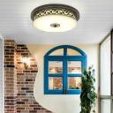 Vintage Geometric Flush Ceiling Light Opal Glass LED Flush Mount Lighting Fixture for Corridor