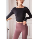 Classic Womens T-Shirt Solid Color Cut-out Back Cropped Boat Neck Long Sleeve Skinny Fit Yoga T-Shirt