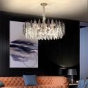 Layered Crystal Leaf Suspended Lighting Fixture Modern Rose Gold Chandelier for Living Room
