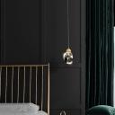 Gem Shaped Hanging Light Simple Clear Faceted Crystal Bedside Pendulum Light in Gold
